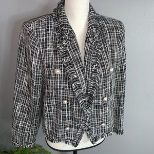 Worthington Petite L Black white tweed blazer NEW